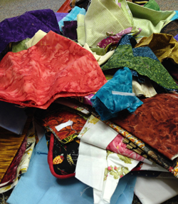 giant pile of fabric scraps
