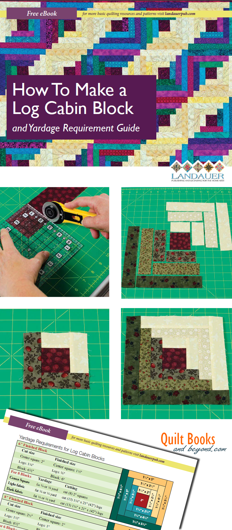 Free eBook How to Make a Log Cabin Quilt Block with Yardage Requirement Guide