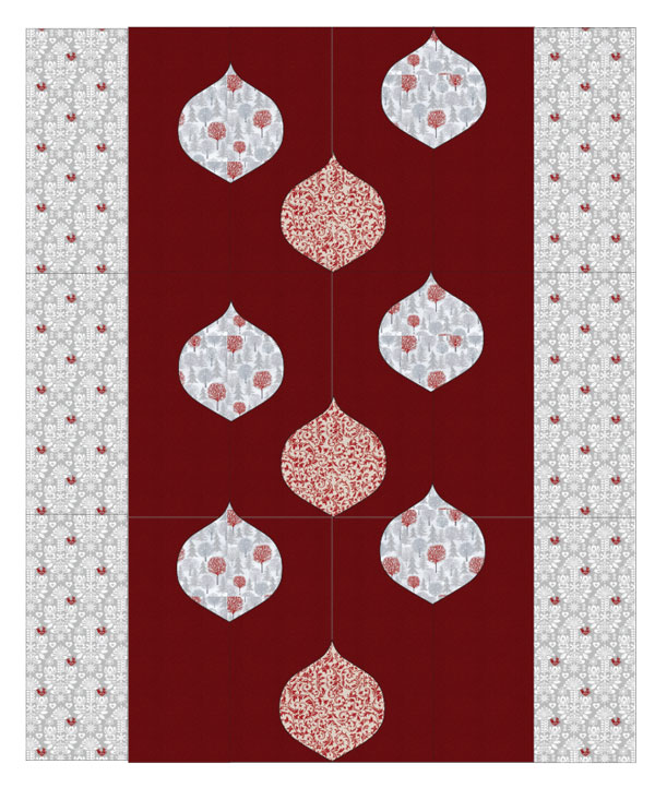 A classic red-and-white colorway in holiday-themed prints lends this quilt a decidedly Christmas feeling.