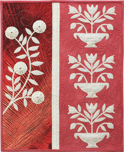 Ivory Baltimore Wallhanging from Recreating Antique Quilts. Designed, pieced, appliquéd, and quilted by Wendy Sheppard.