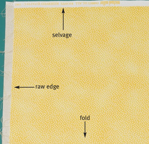 Lay the fabric flat on the rotary mat, with the selvage edges aligned at the top and the fold at the bottom. Note that this fabric's raw edges are not straight; the left edge needs to be straightened.