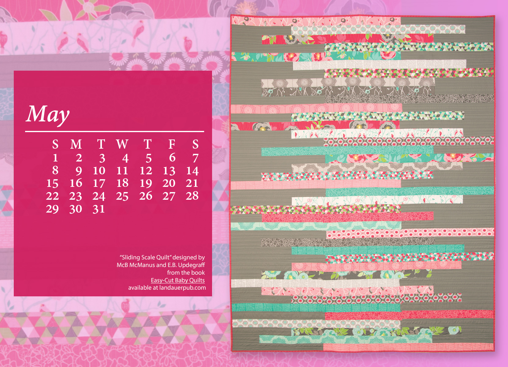 May Calendar Book : Free quilt computer wallpaper